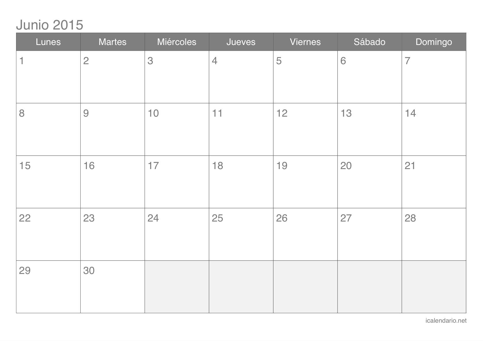 Calendario 2015 Junio | My Calendar Template Collection