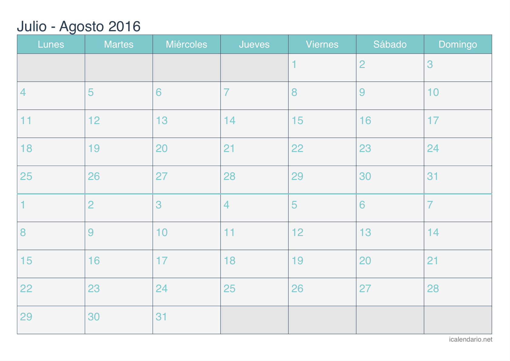 Calendario julio agosto 2016 para imprimir for Calendario junio 2016 para imprimir