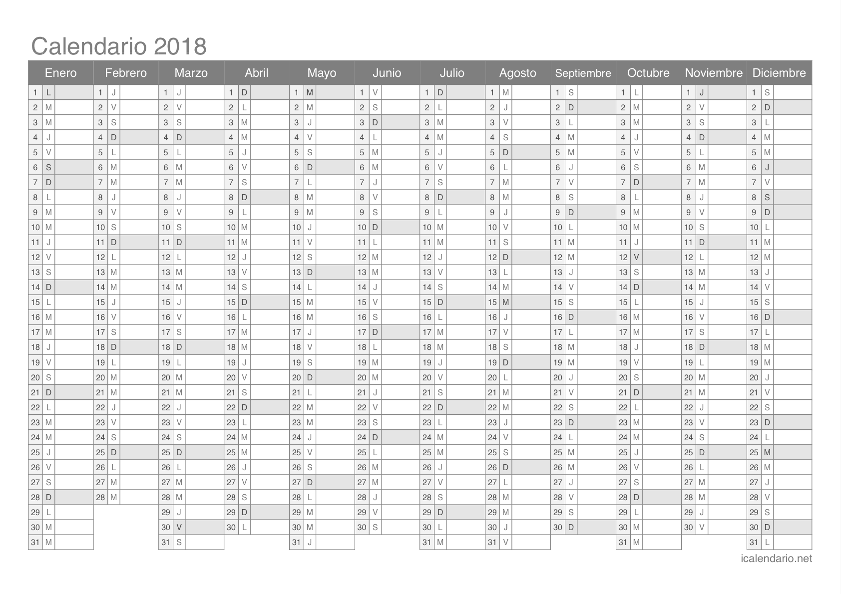 calendario anual 2018 - Vaydile.euforic.co